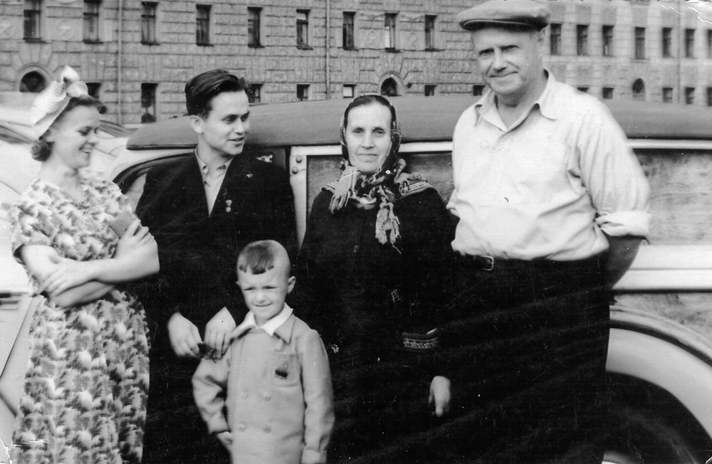My nan (on the left) with Lyonya, her mom and father-in-law, 1956