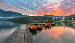 Bohinj lake on a vivid sunrise original_