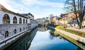 Ljubljanica river with old central marke