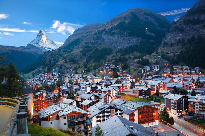Zermatt village with the peak of the Mat