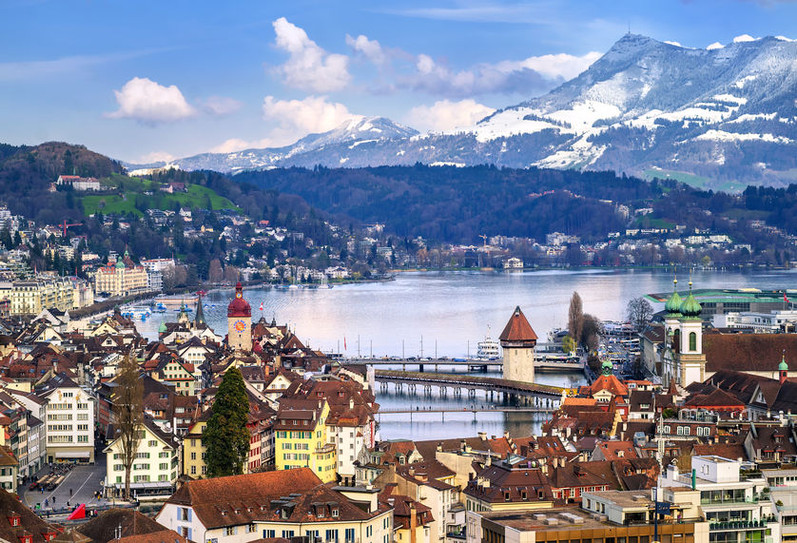 Lucerne, Switzerland, aerial view of the