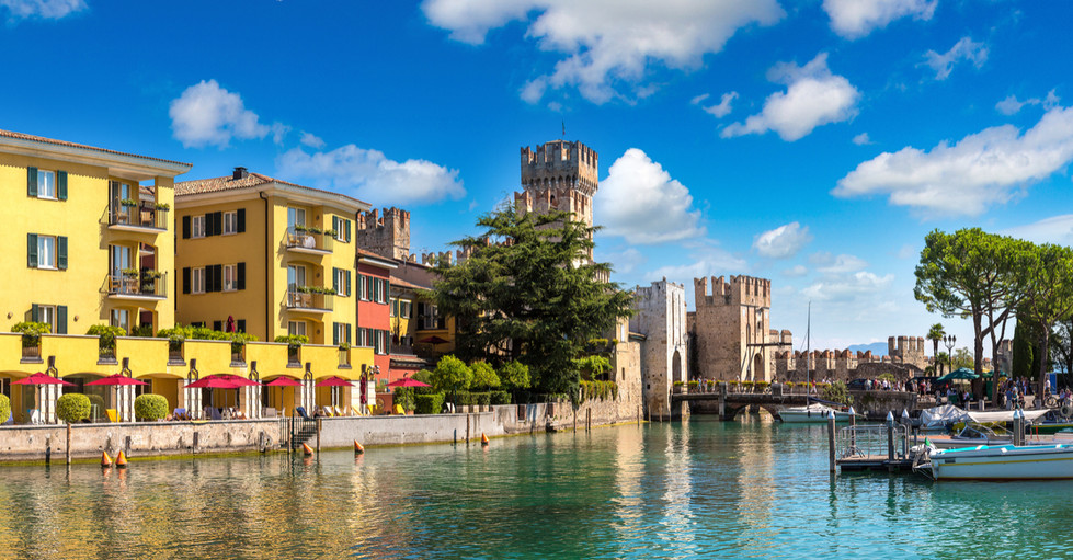 rendered Scaliger castle in Sirmione on
