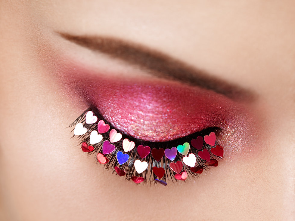 Eye Make-up Girl with a Heart. Valentine