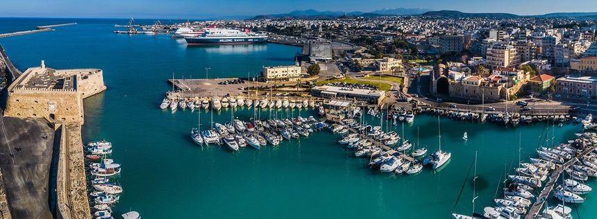 Heraklion Port, Venetian Harbour and marina, Crete, Greece.