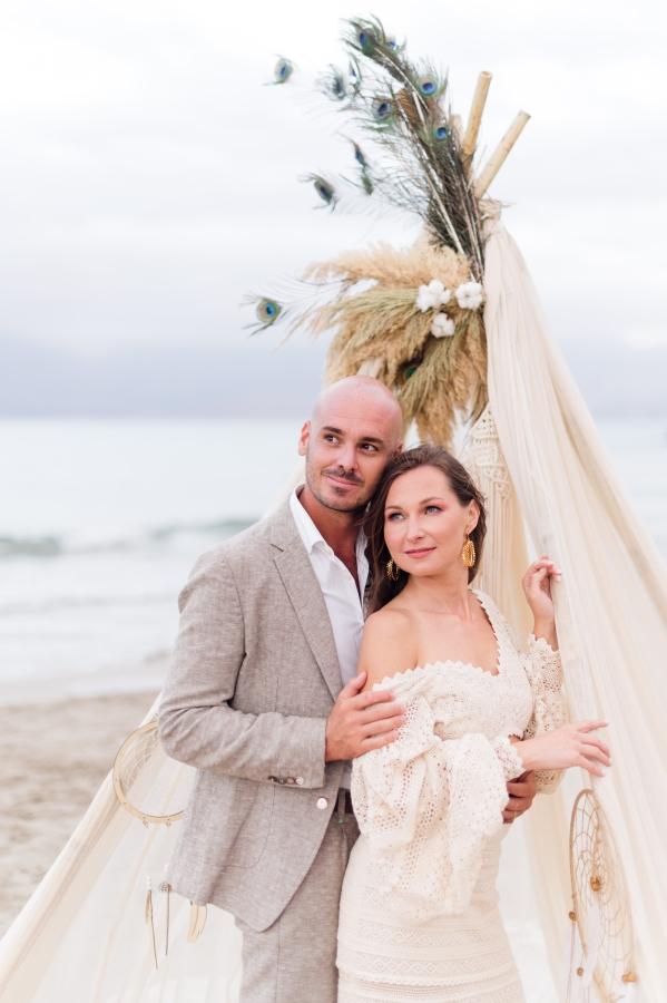 Cretan beach sunset wedding.