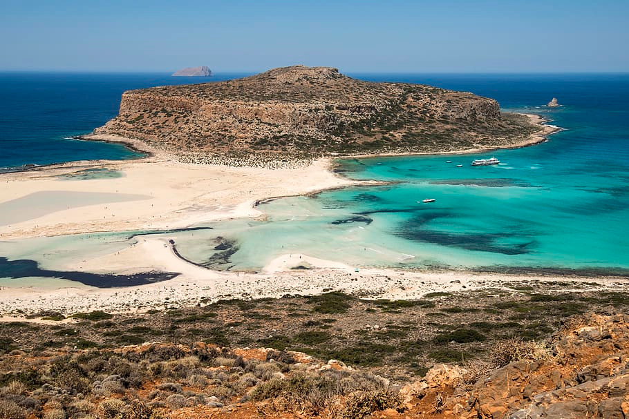 A tropical paradise in Europe. Balos Lagoon on the island of Crete, Greece provides an idyllic setting and a beautiful boat day trip out.