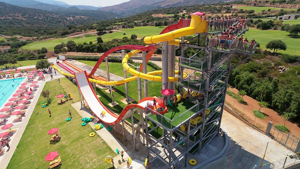 Acqua Plus Water park is a day out of watery fun for all ages in the hills behind Hersonissos, Crete, Greece.