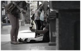A beggar in Heraklion, Crete, Greece