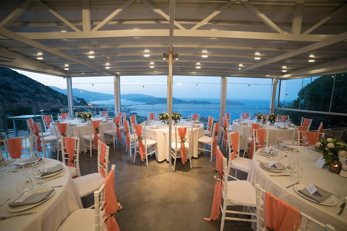 Wedding dinner with a view Crete, Greece.