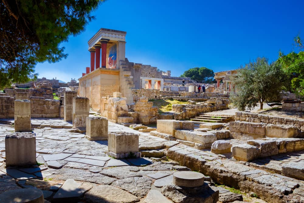 The Minoan Palace of Knossos in Crete, Greece is one of Europe and the world's most important archaeological sites and lies just a few kilometres south of the island's capital Heraklion.