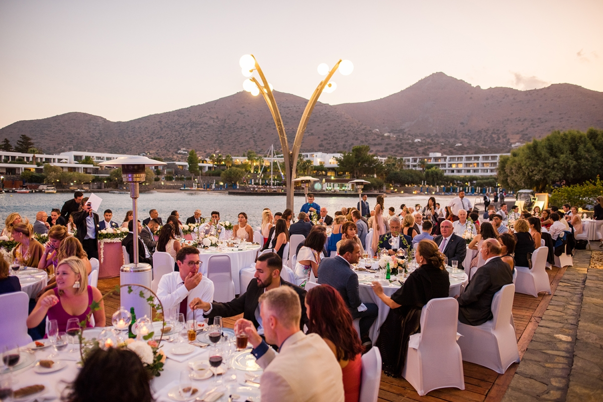Wedding dinner by the sea, Crete, Greece.