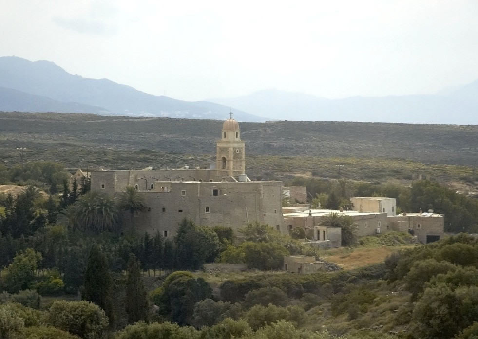 Toplou Monastery is along the beach road to Vai in the eastern reaches of the island of Crete, Greece.