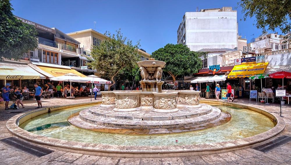 The famous Morosini Fountain of The Lion's Square, Heraklion, Crete, Greece.