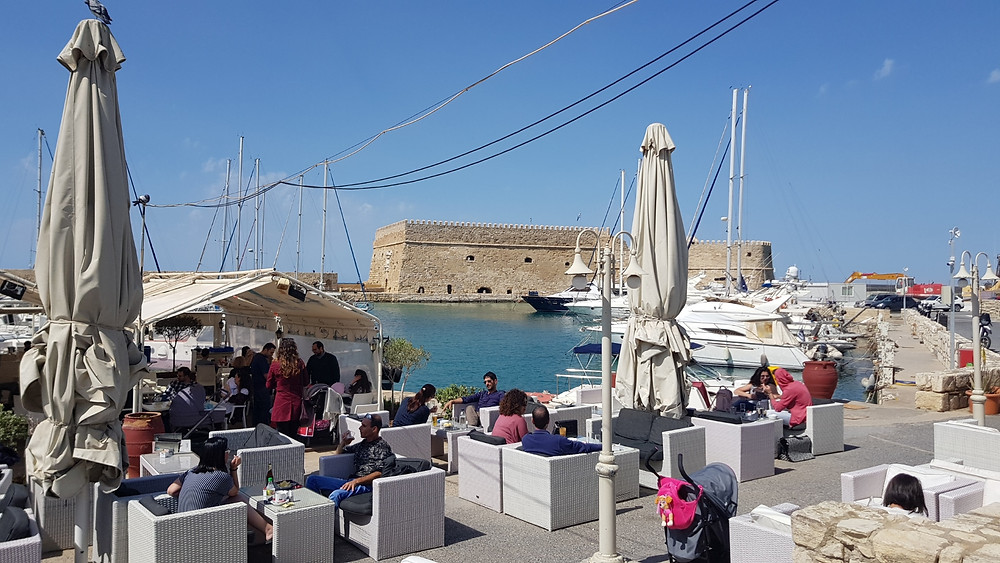 Cafe Marina in the Venetian Port of Heraklion, Crete, Greece.