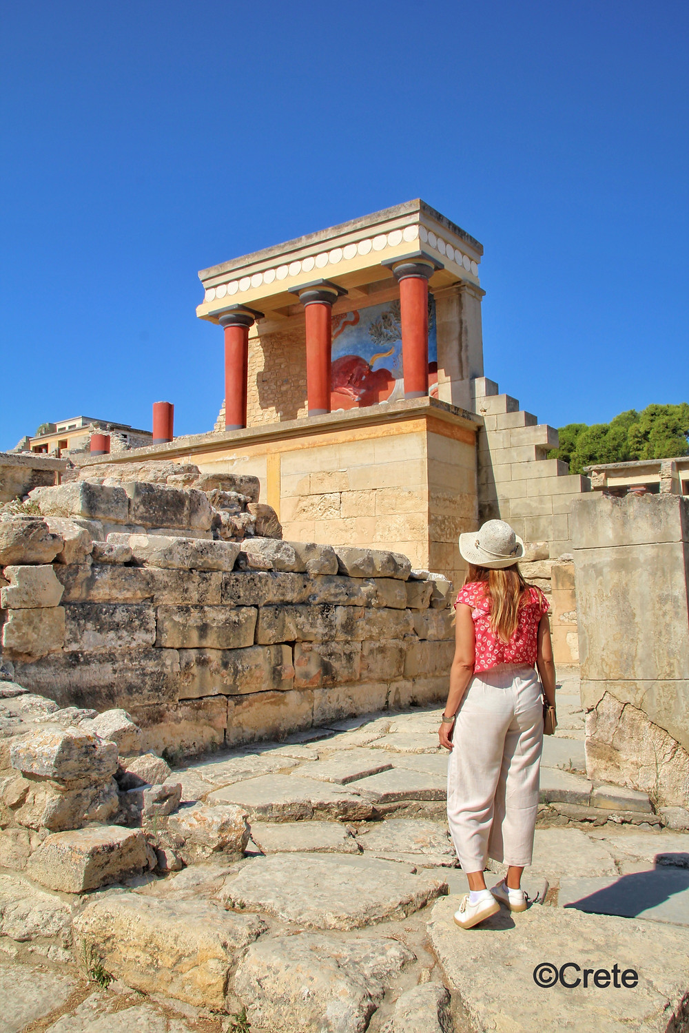 The Minoan Palace at Knossos is said to have been the seat of King Minos the ruler of the Minoan civilisation and is the most famous of the Minoan palaces on the island of Crete, Greece.