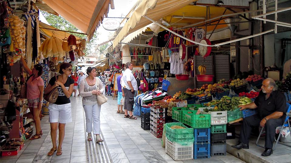 Heraklion Bazaar on 1866 Street, Crete, Greece.