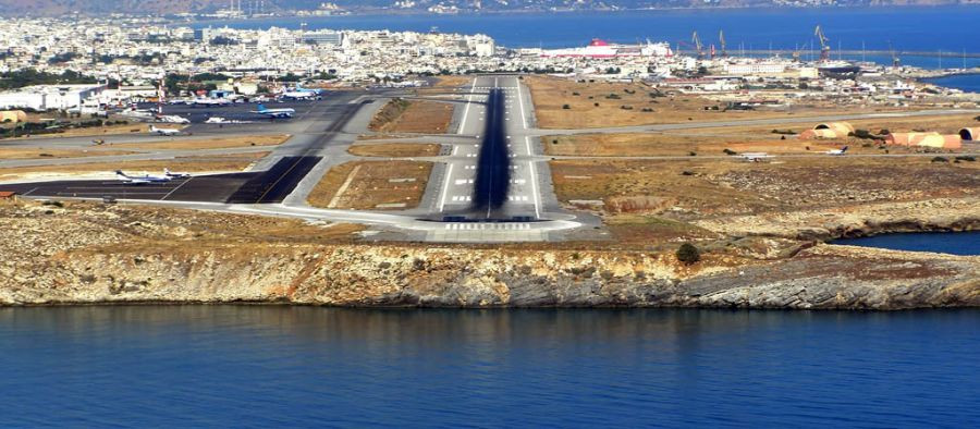 Eastern approach to Nikos Kazantzakis Airport, Crete, Greece.