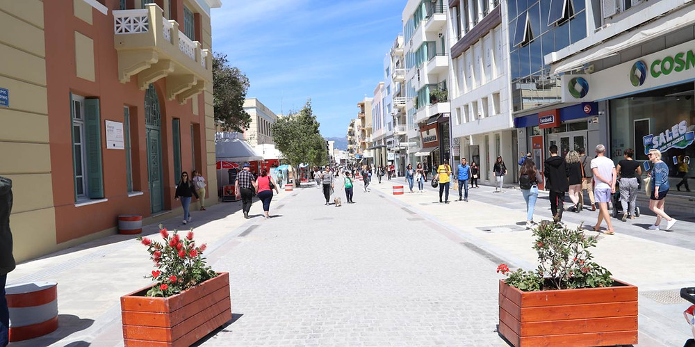 Dikeosinis Street, Heraklion, Crete, Greece. Newly pedestrianised.