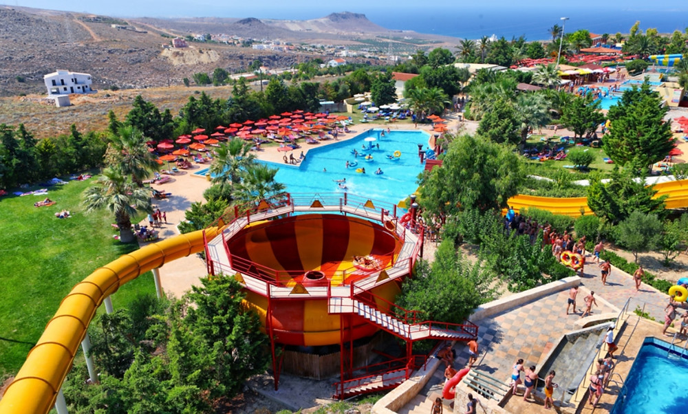 The large water fun park of Water City is a full day out of fun for all the family close to Gouves & Kokkini Hani on the island of Crete, Greece.