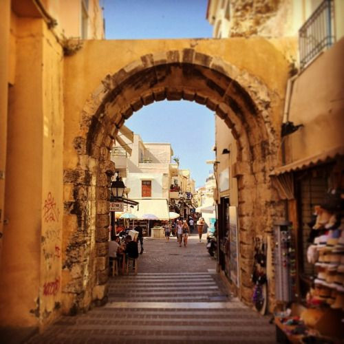 The Venetian Porta Guora in Rethymno, Crete, Greece was the gateway to the town. And you can still walk through it today and enter the narrow town streets full of shopping, history and culture.