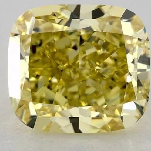 3.82ct Fancy Yellow-Color VVS2-Clarity GIA Cushion Diamond
