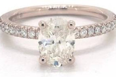 1.02ct Oval, Petite French Cut Engagement Ring in 4mm 14K Rose Gold by James All