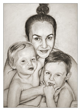 'Mother and 2 Children' family portrait, A3 pencil, 2018