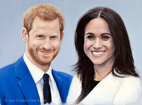 Prince Harry and Meghan Merkle, A3 Oil painting, 2018