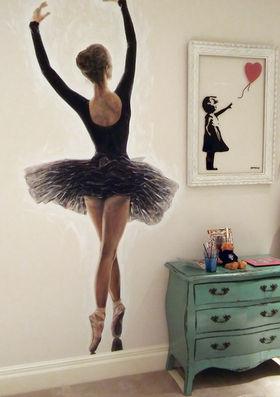 Ballerina dancer wall art painting for childrens bedroom