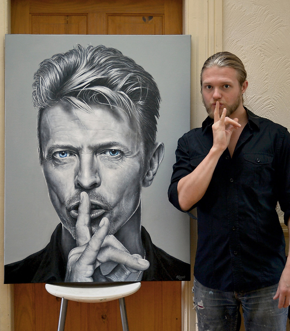 David Bowie, Acrylic, 30 x 40 inches, 2016