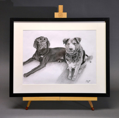 'Freddie & Buddy', framed finished portrait