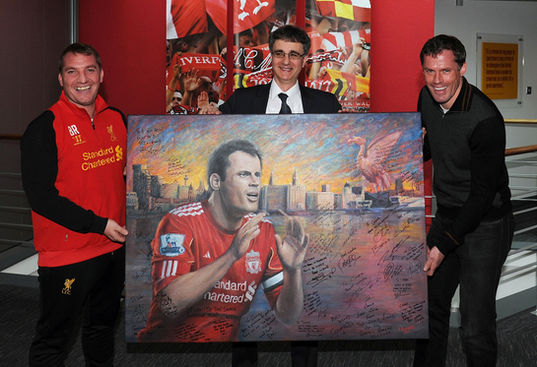 Jami Carrgher Retirment Painting with Brendan Rogers