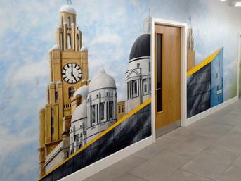 Liverpool Skyline Mural, Auger House Hallway, 2016