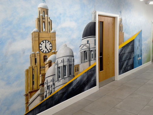 Liverpool Skyline Mural, Auger House Hallway, 2016