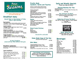 four seasons cafe menu, food, drinks, crosby coffee, breakfast, lunch