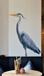 Grey Heron at The Viking, Acrylic mural, 2016