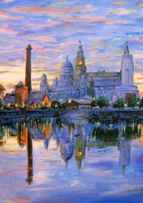 Liverpool Albert Docks and Three Graces at sunset, oil painting