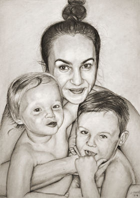 Family Portrait, pencil drawing, acrylic and oil paintng