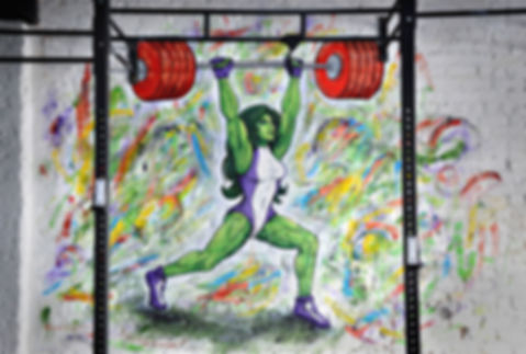 She Hulk graffiti mural for LP Strength Academy