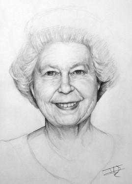 Queen Elizabeth II pencil study, A3, 2010