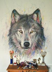 Wolf mural, child's bedroom, 2016