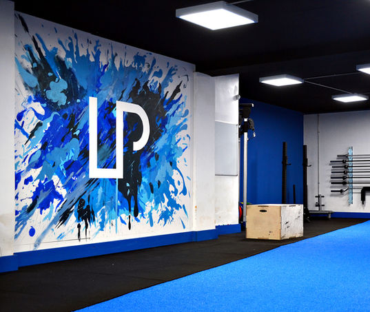 LP Strength Academy paint splatter logo mural, wallasey