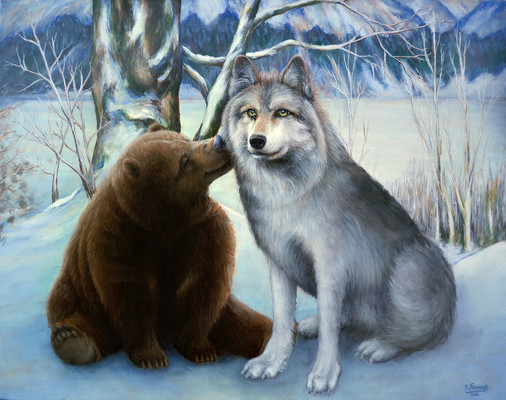 'Bear & Wolf', Acrylic on canvas, 2013