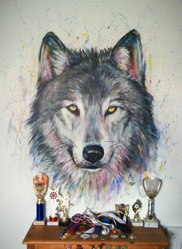 Colourful Wolf mural