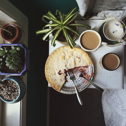 Coffee & baileys, strawberry rhubarb pie #bestfrienddatesinbed