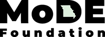 The word MoDE with the Missouri state outlined in the D.