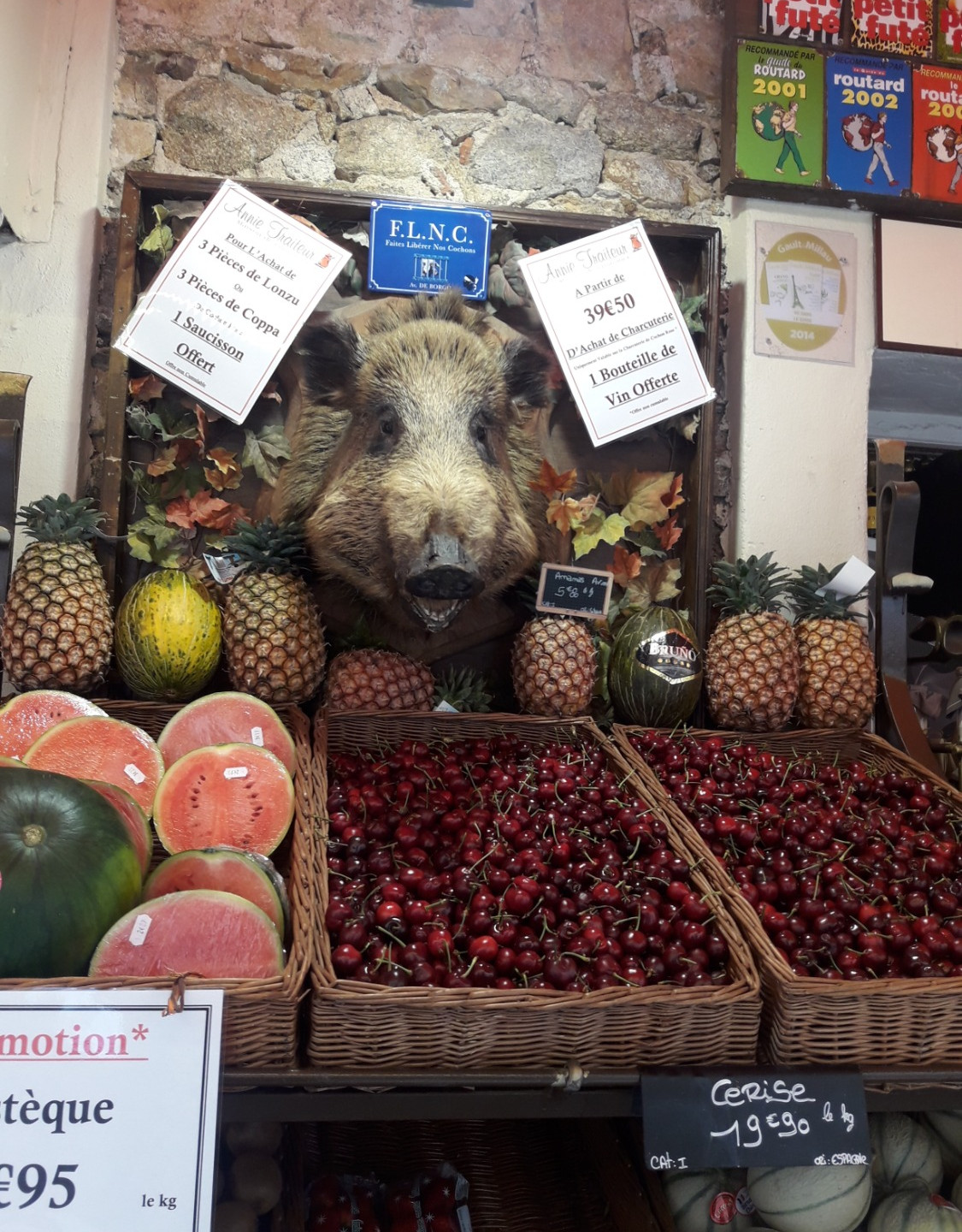 Wild boar and cherries, St Florent