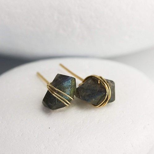 Labradorite Crystal Stud Earrings