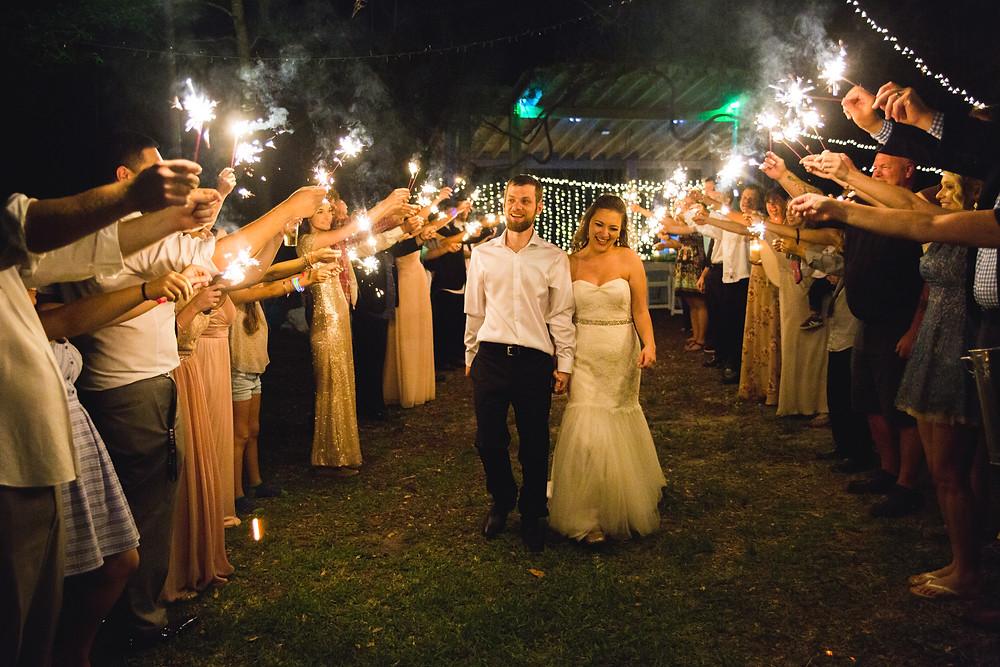 sparkler exit gainesville wedding photo