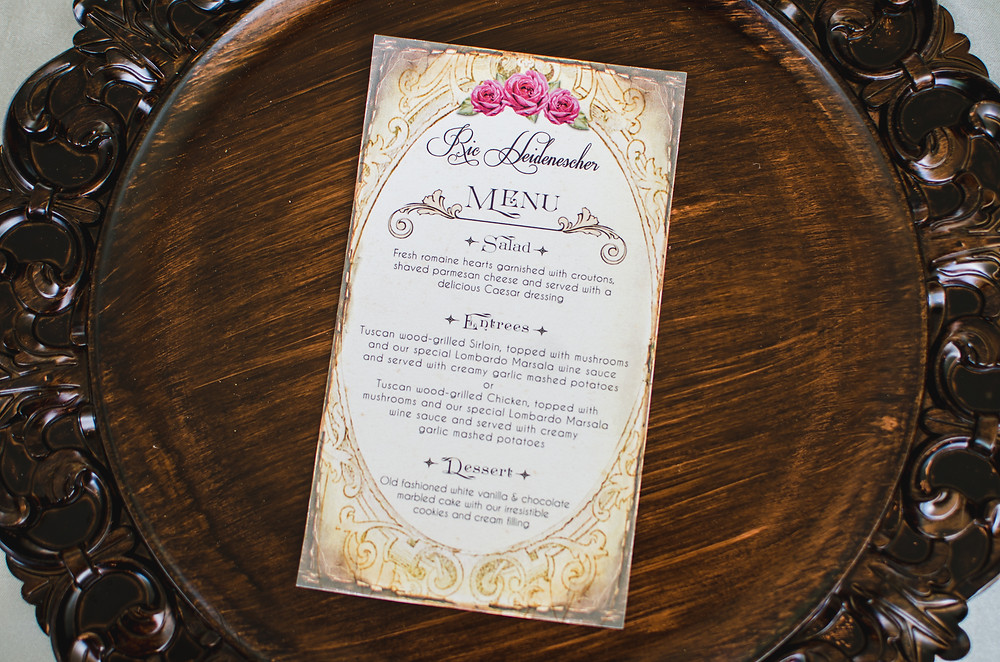 wedding dinner menu details